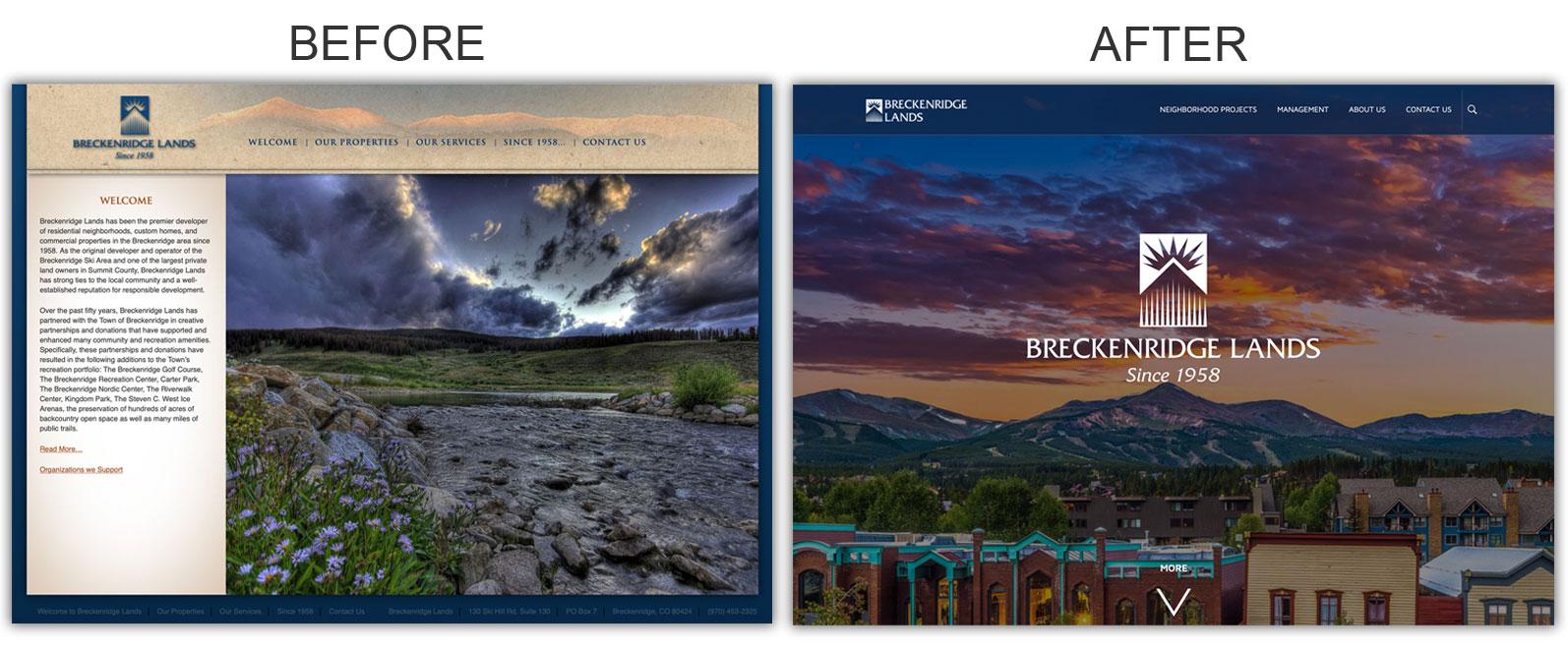 Bryt Idea Website redesign: Breckenridge Lands website before and after